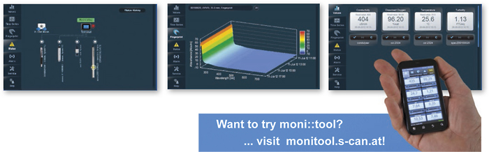 moni::tool offers an intuitive touch interface and graphicaly displays water quality information